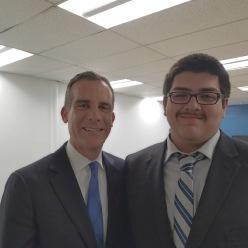Benjamin Rodas and LA Mayor Eric Garcetti