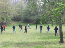 High school students playing freeze tag